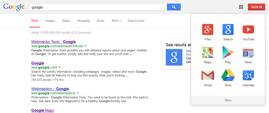 Google homepage on hover.