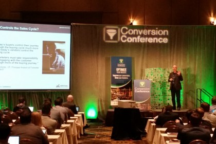 Arnie Kuenn from Vertical Measures chatting viral content at Conversion Conference 2016.
