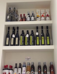 Shelves of olive oil at Brutti & Boni
