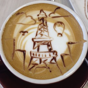 latte art by Mace, Eiffel Tower and hot air balloon