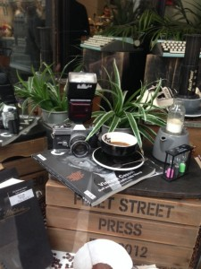 flash camera, aeropress, sand timers, coffee at Fleet St Press