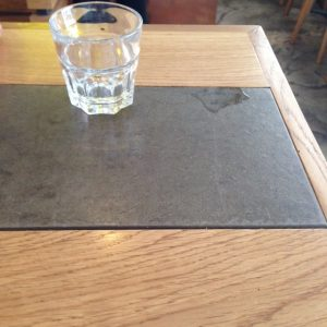 wood and slate with glass, Kaffeine