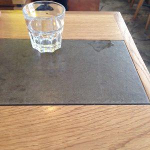 wood and slate with glass, Kaffeine