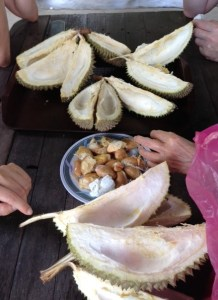 durian skins and seeds
