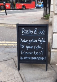 signboard at Rosie and Joe