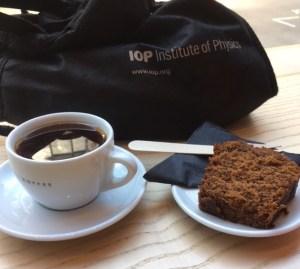 Banana bread and coffee with IoP bag