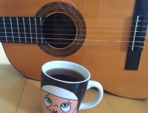 Guitar, coffee