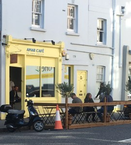 Amar Cafe, Drinking coffee on Chelsea Green, Colombian Coffee