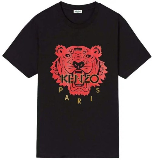 Kenzo Black Men's Tiger T-Shirts