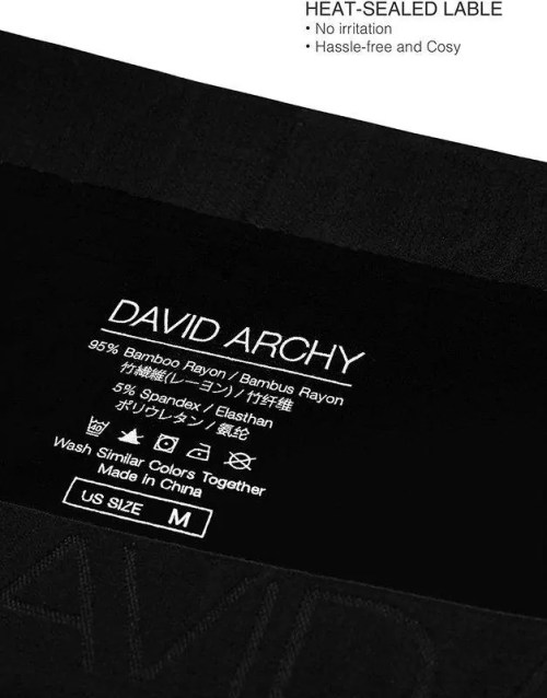 DAVID ARCHY Men's Boxers, Men's Briefs, Men's Underwear Bamboo Men's Boxer Shorts Multipack with Pouch and Fly, Ultra Soft and Breathable