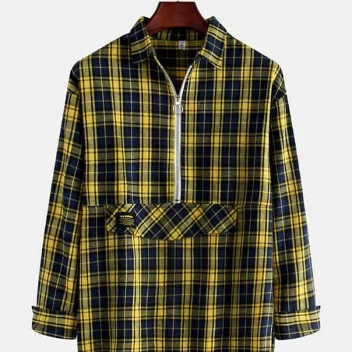 Mens New Korean Version Wild Plaid Zipper Shirts