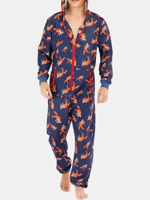 Men Funny Wolf Print Jumpsuit Loungewear Royal Blue Hooded