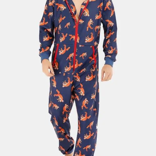 Men Funny Wolf Print Jumpsuit Loungewear Royal Blue Hooded