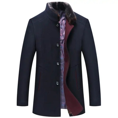 Bearboxers Mens Woolen Blend Single-breasted Coat