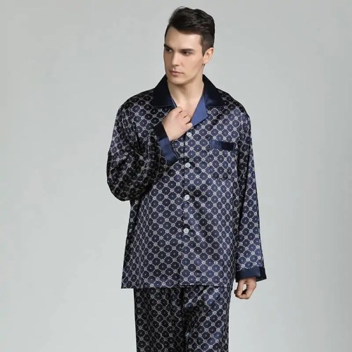 Silk Pajamas for Men Sleepwear V-collar Cozy Soft long sleeve nightgown Tops + Trousers Two Pieces Mens Pajama Set Pajamas Men