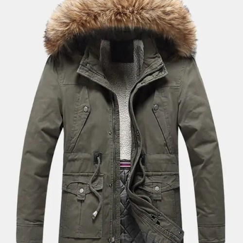 Windproof Multi Pocket Detachable Faux Fur Hooded Parka
