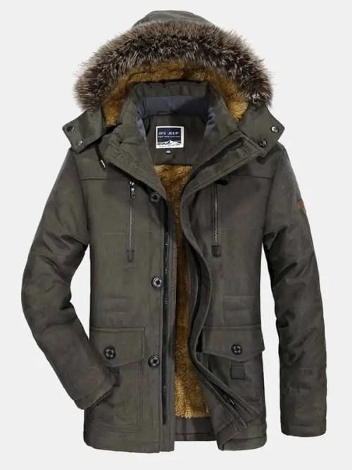 Bearboxers Fleece Lined Multi Pocket Detachable Hooded Coat