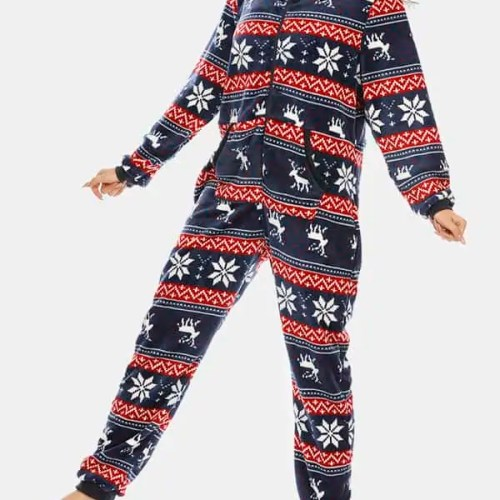 Plus Size Womens Christmas Snowflake Hooded Onesie