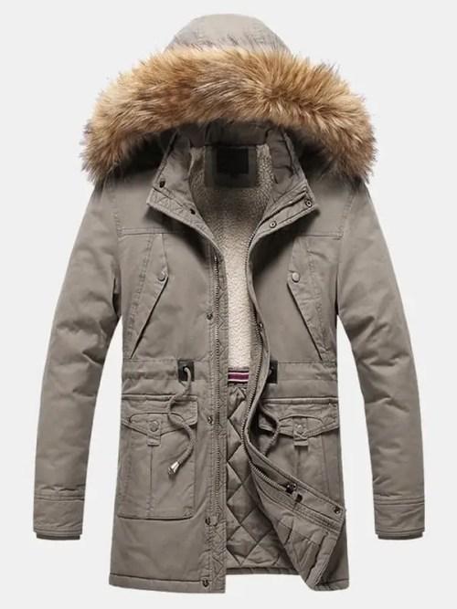 Windproof Multi Pocket Detachable Faux Fur Hooded Parka