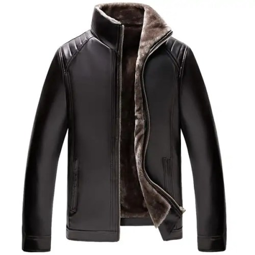 Mens Thick Velvet Warm Winter Faux Leather Jacket