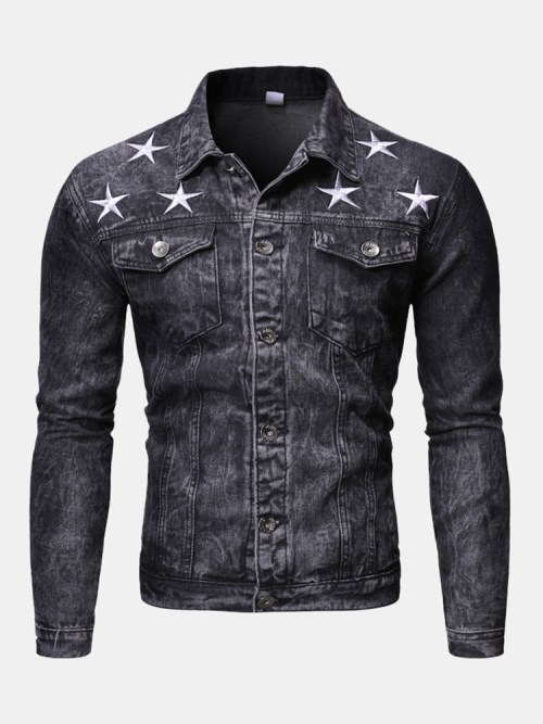 Men's Fashion Print Washed Denim Jacket