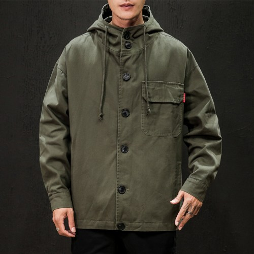 Men's New Japanese Large Size Hooded Loose Jacket