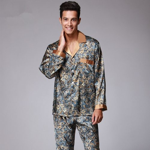 Bearboxers Paisley Pattern Sleepwear Silk Long-sleeved Satin Pyjamas