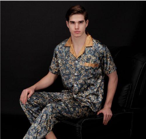 Bearboxers Paisley Pattern Sleepwear Silk Long-sleeved Satin Pyjamas