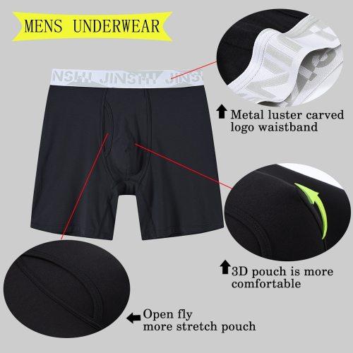 Men's Bamboo Fibre Long Legs Boxer-Shorts 3Packs