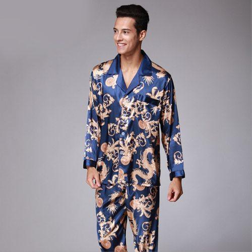 Bearboxers Luxury Paisley Silk long-Sleeved Satin Pyjamas