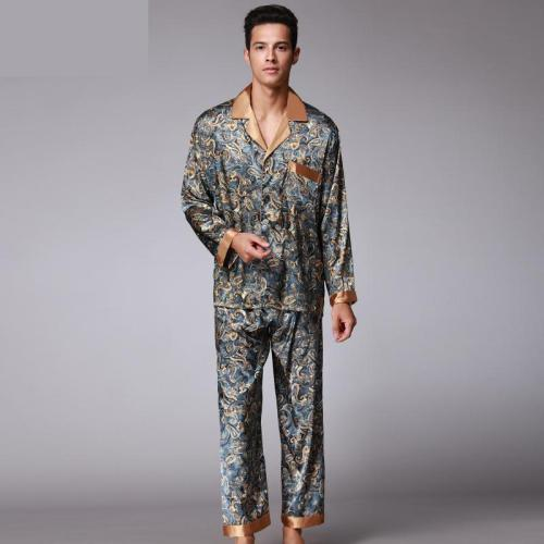 Bearboxers Luxury Paisley Silk long-Sleeved Satin Pyjamas