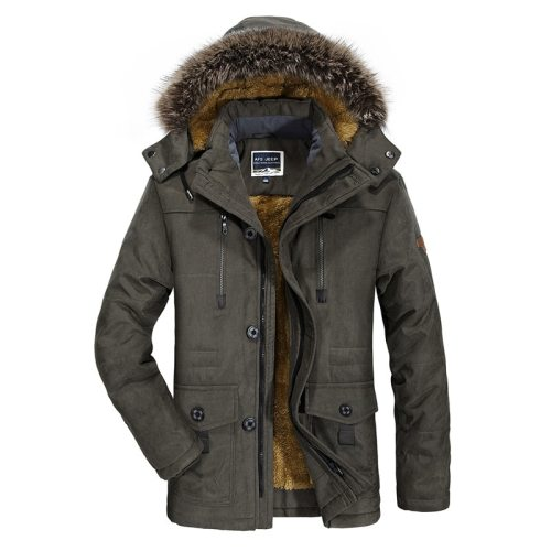 Bearboxers Mens Fur Lined Windproof Hooded Parka Coat