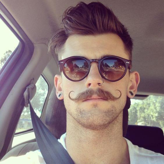 Handlebar moustache & beard style