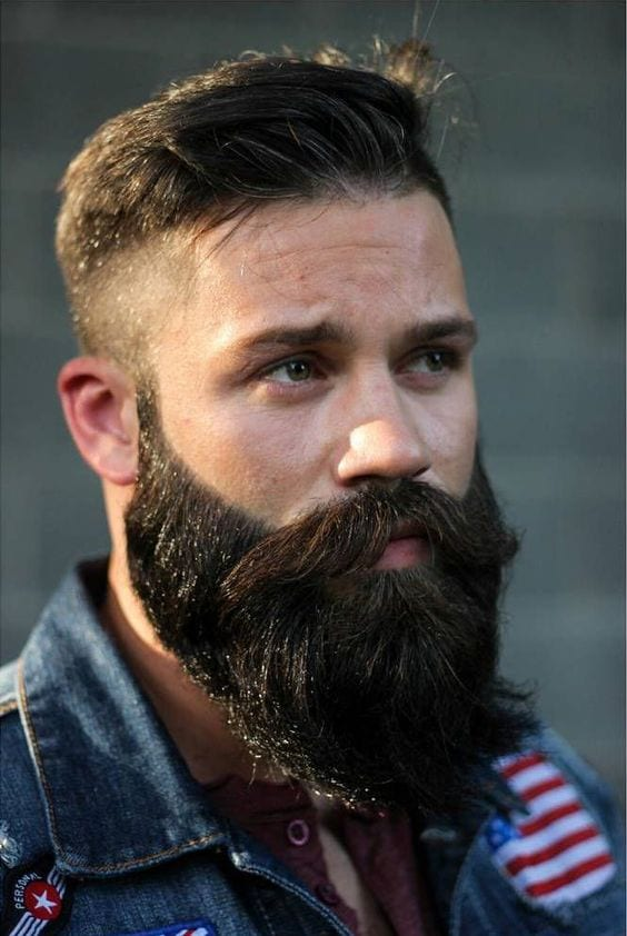 ducktail beard side face look