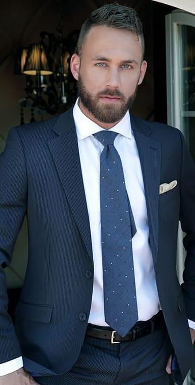 Blue Suit Professional Beard Look