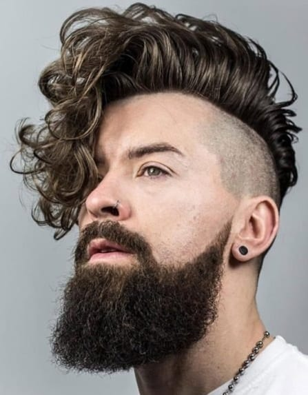 Curly Fringe Funky undercut Hairstyle for men with beard