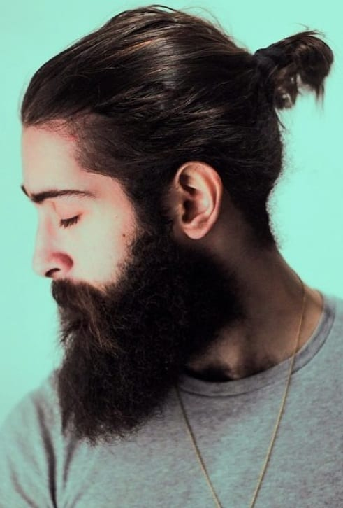 Long Beard with Short ponytail look for men