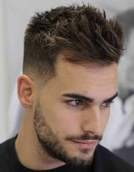 Short Faux Hawk hairstyle and beard for men