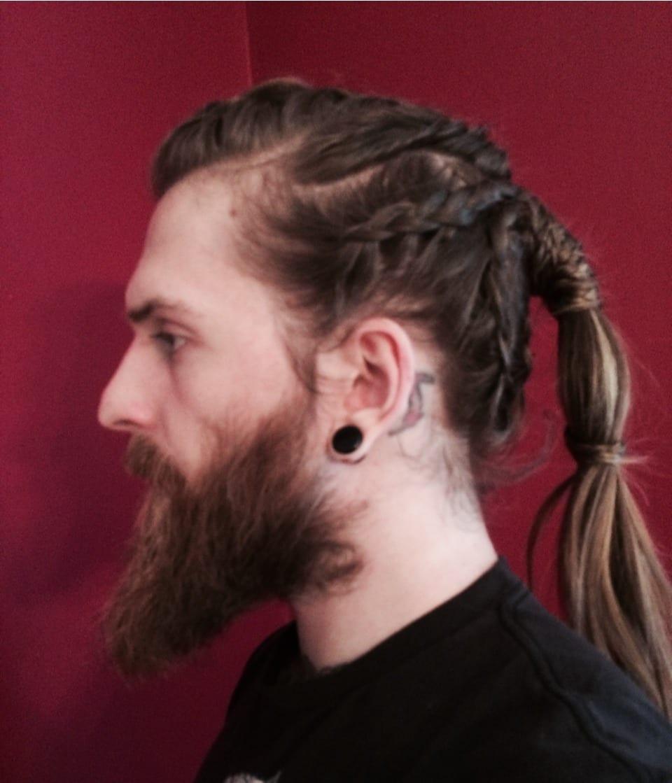 pony-tail-with-van-dyke-beard-side-face
