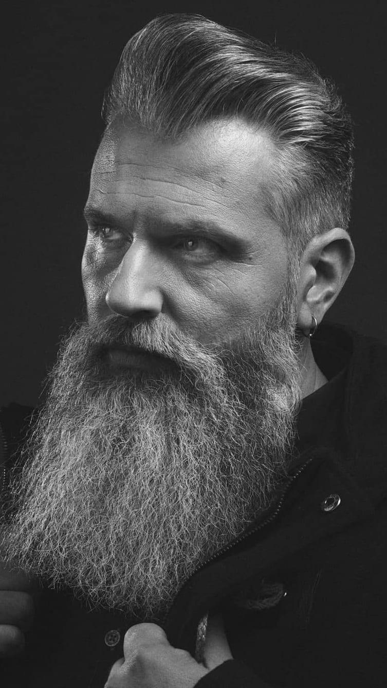 Long harden white beard style for men
