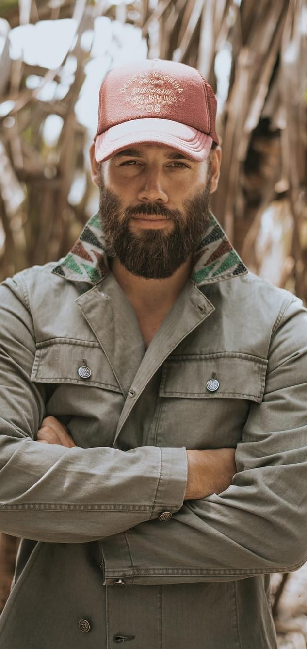 Stubble medium beard style for men