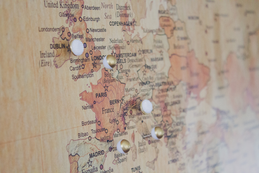 Push pin travel map diy how do you currently document your travel experiences if you give this project a try wed love to see how it turns out gumiabroncs Images