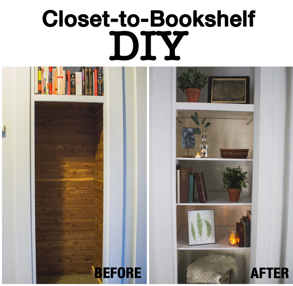 How To Transform A Small Closet Into Built In Bookshelf
