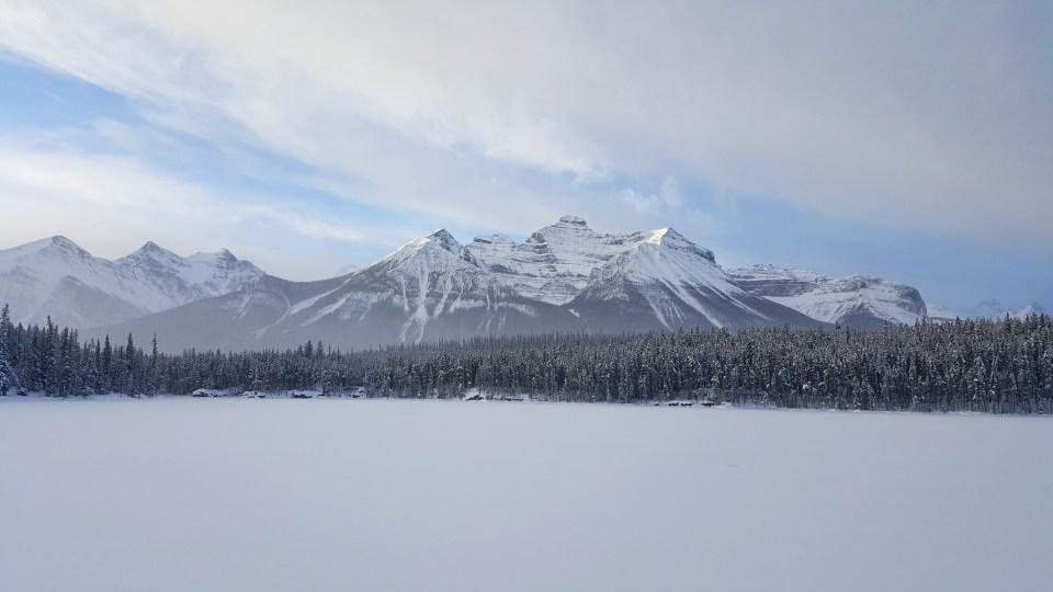 Emerald Lake, Bow Lake Frozen Over, Banff National Park, Alberta Canada