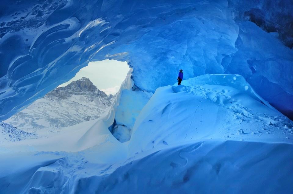 Fifteen Top Winter Activities in Alberta, Inside Athabasca Glacier, Jasper National Park