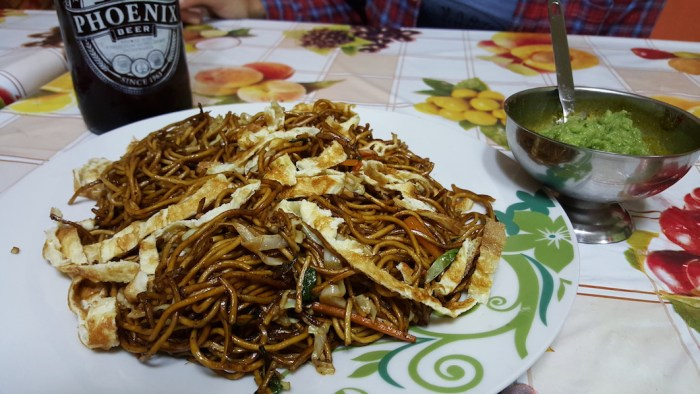 Mauritius on a Budget, Food of Mauritius, Chinese Noodles, Phoenix Beer