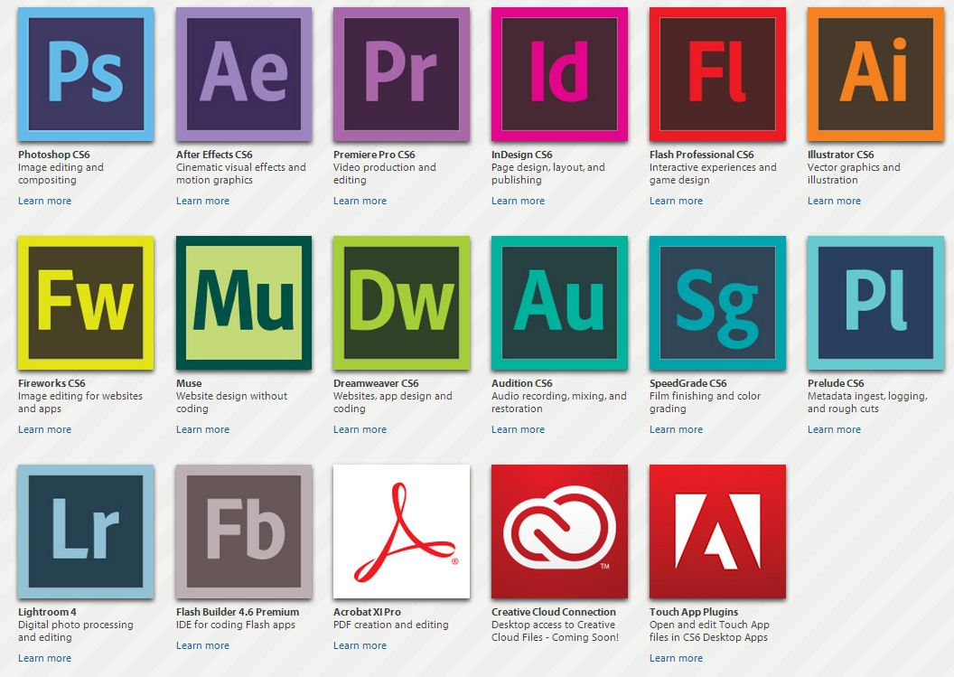 Image result for adobe creative suite programs