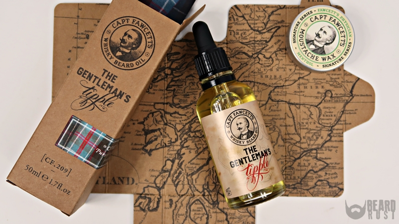 Capt. Fawcett's Whisky Beard Oil (Tipple) + Moustche Wax (Menthol) – recenzja olejku i wosku do wąsów