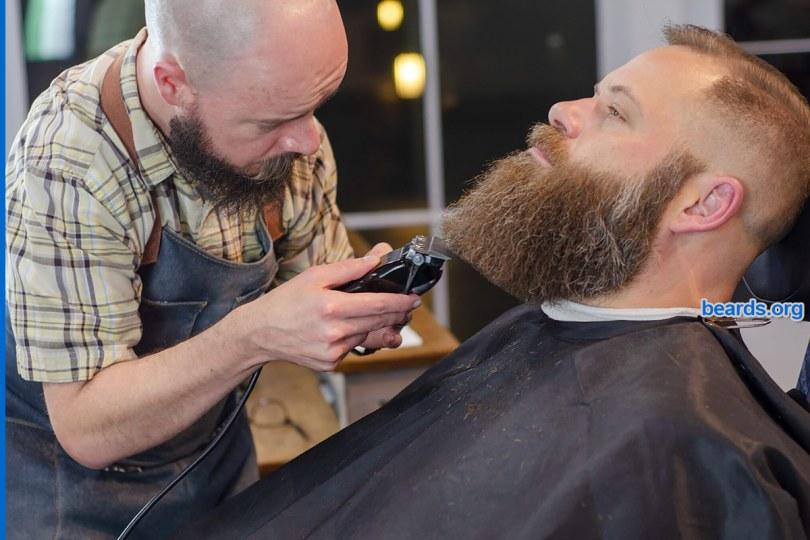 Chris' beard update photo 9: getting his beard trimmed