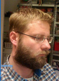 William's beard progression: the full beard's permanence is well established now.